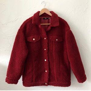 Missguided Jackets & Coats - MISSGUIDED OVERSIZED BORG TRUCKER JACKET TEDDY